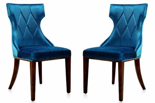 Manhattan Comfort Reine Cobalt Blue and Walnut Velvet Dining Chair (Set of Two) Perspective: front