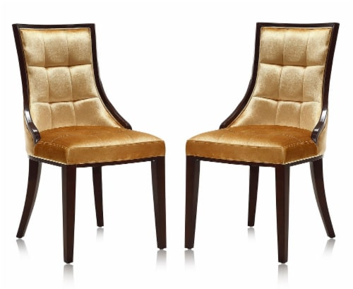 Manhattan Comfort Fifth Avenue Antique Gold and Walnut Velvet Dining Chair (Set of Two) Perspective: front