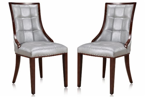 Manhattan Comfort Fifth Avenue Silver and Walnut Faux Leather Dining Chair (Set of Two) Perspective: front