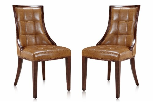 Manhattan Comfort Fifth Avenue Saddle and Walnut Faux Leather Dining Chair (Set of Two) Perspective: front