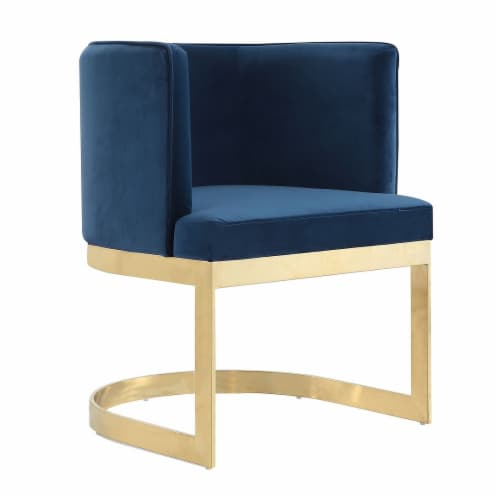 Manhattan Comfort Aura Royal Blue and Polished Brass Velvet Dining Chair Perspective: front