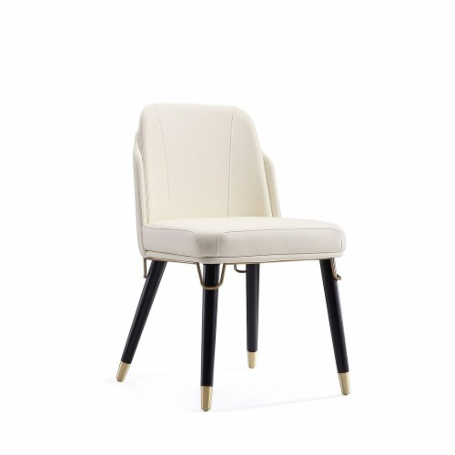 Manhattan Comfort Estelle Cream and Black Faux Leather Dining Chair Perspective: front
