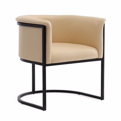 Manhattan Comfort Bali Tan and Black Faux Leather Dining Chair Perspective: front