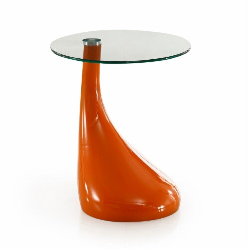 Manhattan Comfort Lava 19.7 in. Orange Glass Top Accent Table Perspective: front