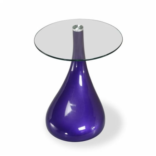 Manhattan Comfort Lava 19.7 in. Purple Glass Top Accent Table Perspective: front
