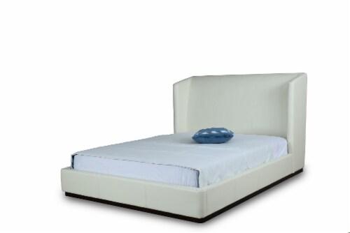 Manhattan Comfort Lenyx Cream Queen Bed Perspective: front