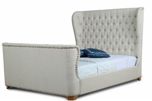 Manhattan Comfort Lola Ivory Queen Bed Perspective: front