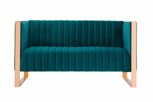Manhattan Comfort Trillium 57.48 in. Aqua Blue and Rose Gold Velvet 2-Seater Loveseat Perspective: front