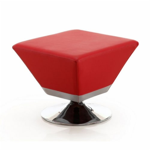 Manhattan Comfort Diamond Red and Polished Chrome Swivel Ottoman Perspective: front