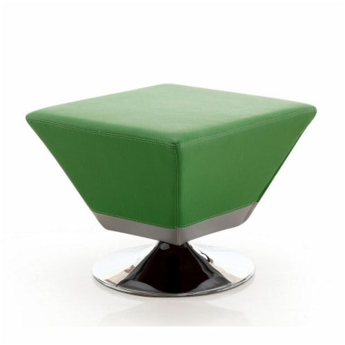Manhattan Comfort Diamond Green and Polished Chrome Swivel Ottoman Perspective: front