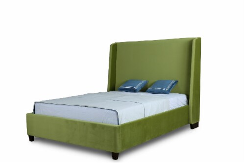 Manhattan Comfort Parlay Pine Green Full Bed Perspective: front