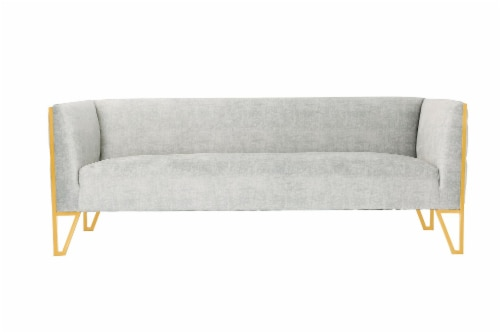 Manhattan Comfort Vector 81.5 in. Grey and Gold Velvet 3-Seat Sofa Perspective: front
