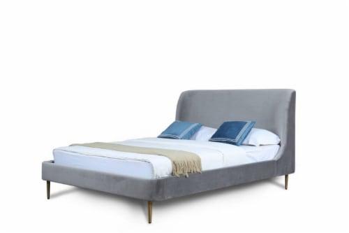 HEATHER QUEEN BED IN GREY Perspective: front