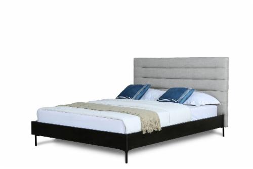SCHWAMM QUEEN BED IN LIGHT GREY Perspective: front