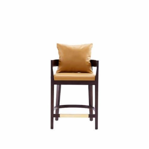 Manhattan Comfort Ritz 34 in. Camel and Dark Walnut Beech Wood Counter Height Bar Stool Perspective: front