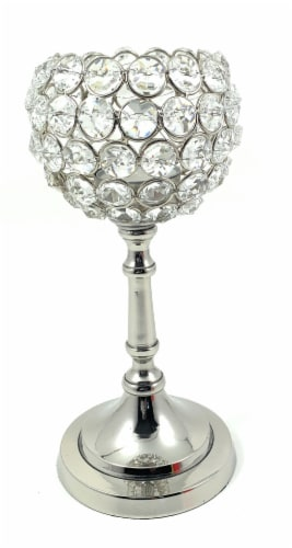 Vibhsa Round Crystal Candle Holder - Silver Perspective: front