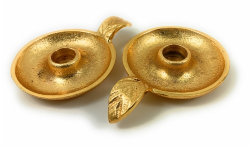 Vibhsa Taper Candlestick Holders Dish Set 2 Pack - Gold Perspective: front