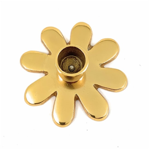 Vibhsa Taper Candlestick Holder Flower Dish - Gold Perspective: front