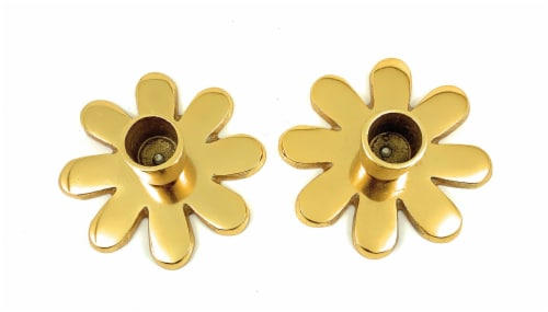 Vibhsa Taper Candlestick Holder Flower Dish Set 2 Pack - Gold Perspective: front
