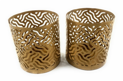 Vibhsa Votive Candle Holders 2 Pack - Gold Perspective: front