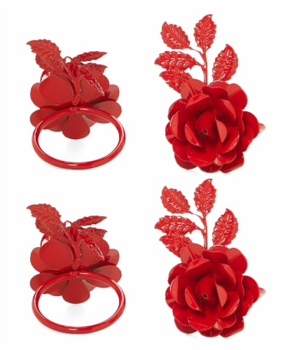 Vibhsa Rose Napkin Rings 12 Pack - Red Perspective: front