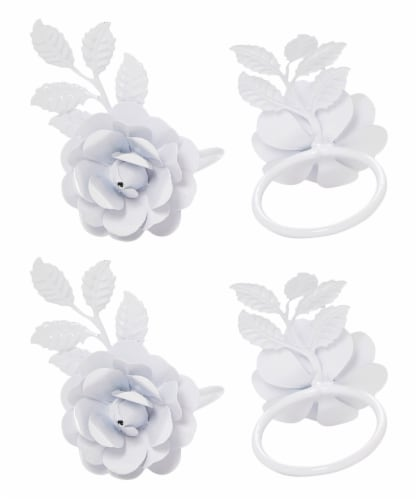 Vibhsa Rose Napkin Rings 12 Pack - White Perspective: front