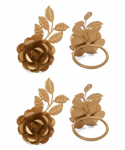Vibhsa Napkin Rings Set - Golden Rose Perspective: front