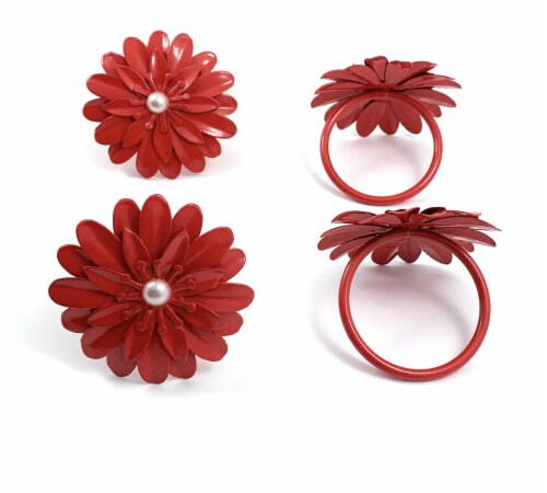Vibhsa Flower Napkin Rings Set - Red Pearl Perspective: front