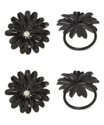 Vibhsa Flower Napkin Rings Set - Black Pearl Perspective: front