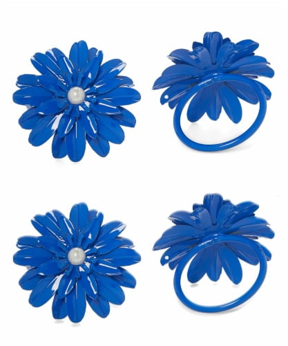 Vibhsa Flower Napkin Rings Set - Blue Pearl Perspective: front