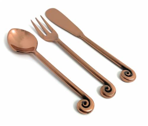Vibhsa Treble Note Breakfast Flatware Set - Copper Perspective: front