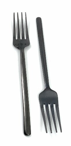 Vibhsa Stainless Steel Dinner Forks Set - Black Perspective: front