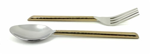 Vibhsa Stainless Steel Appetizer Forks & Dessert Spoons 8 Piece - Gold Perspective: front