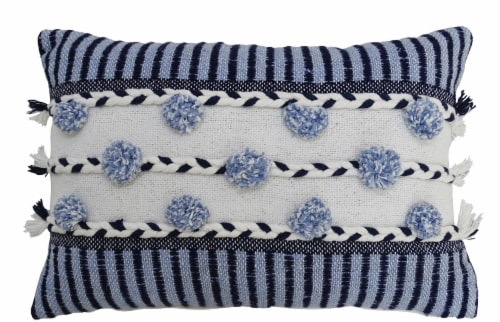 """14""""x20"""" Striped Throw Pillow with Braid and Tassels Perspective: front"""