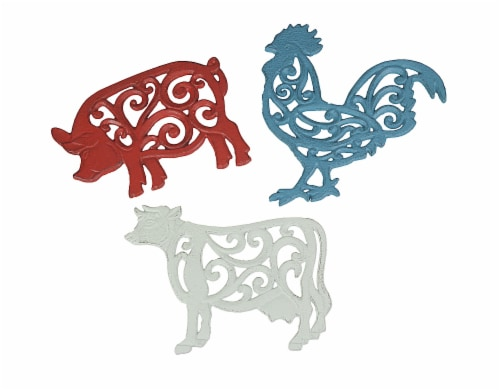 Set of 3 Cast Iron Farm Animal Kitchen Trivets Decorative Wall Hanging Art Rooster Cow Pig Perspective: front