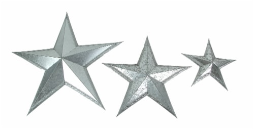 Set of 3 Galvanized Metal Stars Wall Art Rustic Decorative Home Accent Indoor/Outdoor Decor Perspective: front