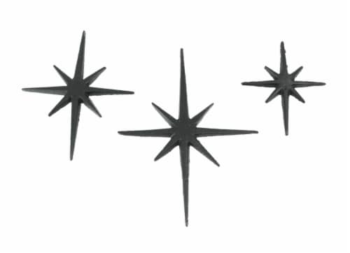 Set of 3 Black Cast Iron 8 Pointed Starburst Wall Hangings Mid Century Stars - Black Perspective: front
