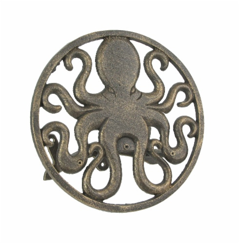 Cast Iron Octopus Decorative Wall Mounted Hanging Garden Hose Holder Bronze Finish Perspective: front
