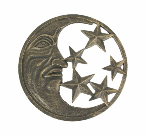 Antique Bronze Finished Cast Iron Crescent Moon and Stars Wall Hanging Perspective: front