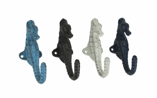 Set of 4 Colorful Coastal Cast Iron Seahorse Decorative Wall Hooks 5 inch Perspective: front