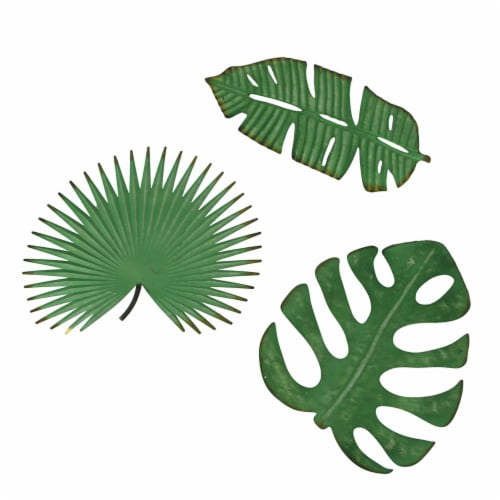 Set of 3 Antiqued Green Metal Tropical Leaf Sculptures Wall Hanging Palmetto Monstera Banana Perspective: front