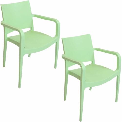 Sunnydaze Landon Indoor Outdoor Plastic Dining Armchair - Light Green - 2-Pack Perspective: front