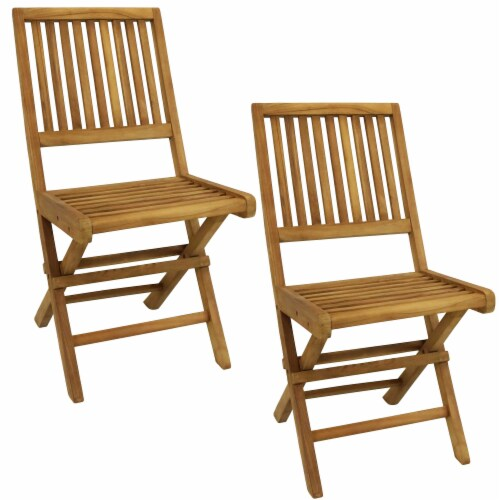 Kroger Sunnydaze Nantasket Teak Outdoor Folding Patio Chair With Slat Back 2 Chairs 1 Unit S