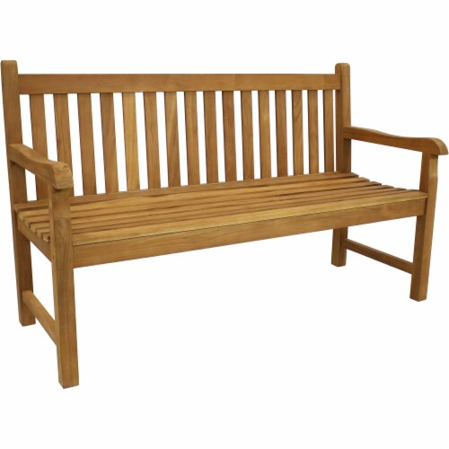 Sunnydaze Teak Outdoor Patio Garden Bench - Mission Style - 2-Person - 59-Inch Perspective: front