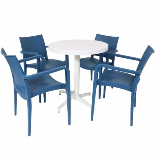 Sunnydaze All-Weather Landon 5-Piece Indoor/Outdoor Table and Chair Set - Blue Perspective: front
