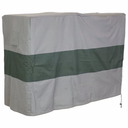 Sunnydaze Log Rack Cover - Gray with Green Stripe - Waterproof - 5-Foot Perspective: front