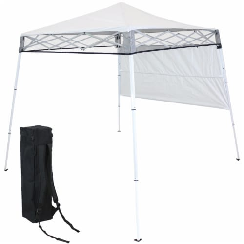 Sunnydaze 7.5 x 7.5 Foot Slant Leg Backpack Canopy - White Perspective: front
