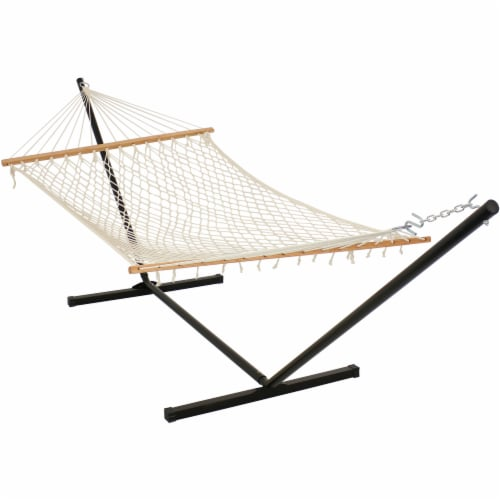 Sunnydaze Cotton Rope Hammock with Stand - Unfinished Wood Spreader Bars Perspective: front