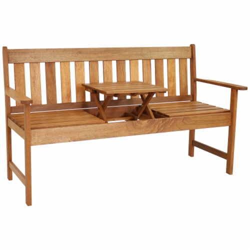 Sunnydaze Meranti Wood Outdoor Occasional Bench with Teak Oil Finish Perspective: front