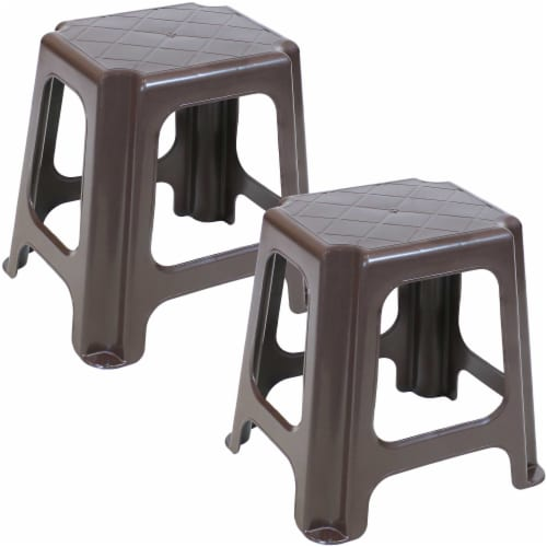 Sunnydaze Brown Plastic Step Stool - Set of 2 - 260-Pound Capacity - 16-Inch Perspective: front